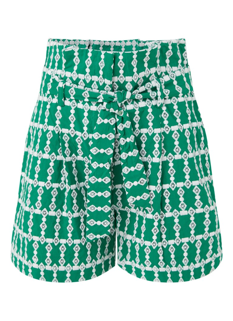 Claudie Pierlot - Etincelle high waist straight fit korte broek met broderie - Groen