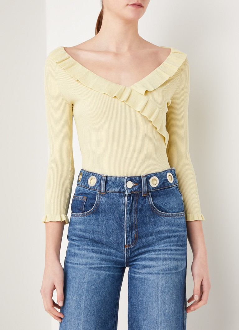 Claudie Pierlot - My Gold top met lurex en volant - Lime