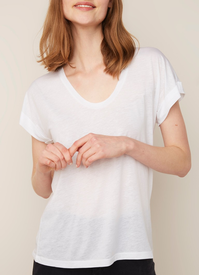 Closed - T-shirt met mouwomslag - Wit