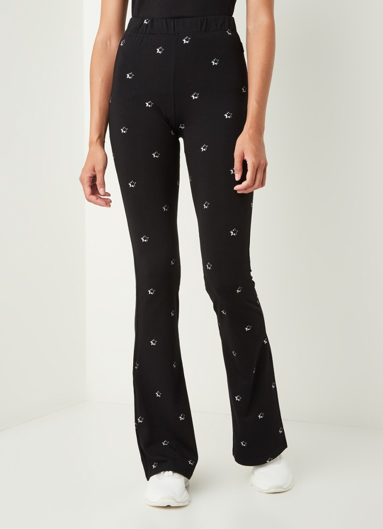 Colourful Rebel - Stars high waist flared fit legging met sterrenprint - Zwart