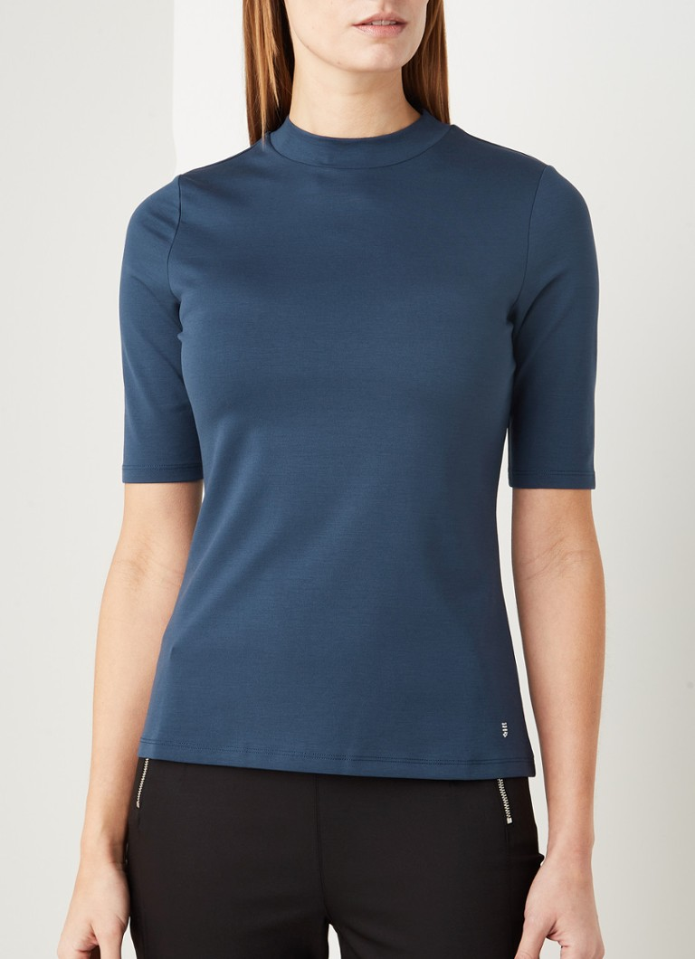 Comma - T-shirt in lyocellblend - Blauw