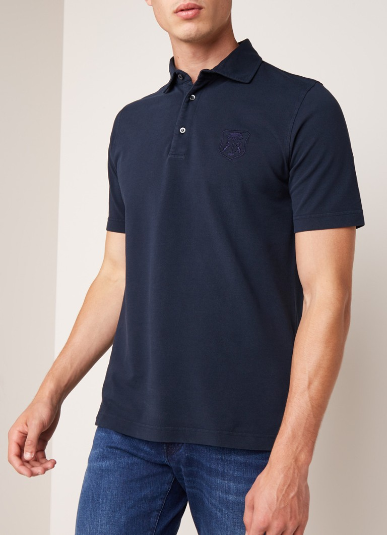Corneliani - Regular fit polo met verwassen look - Donkerblauw