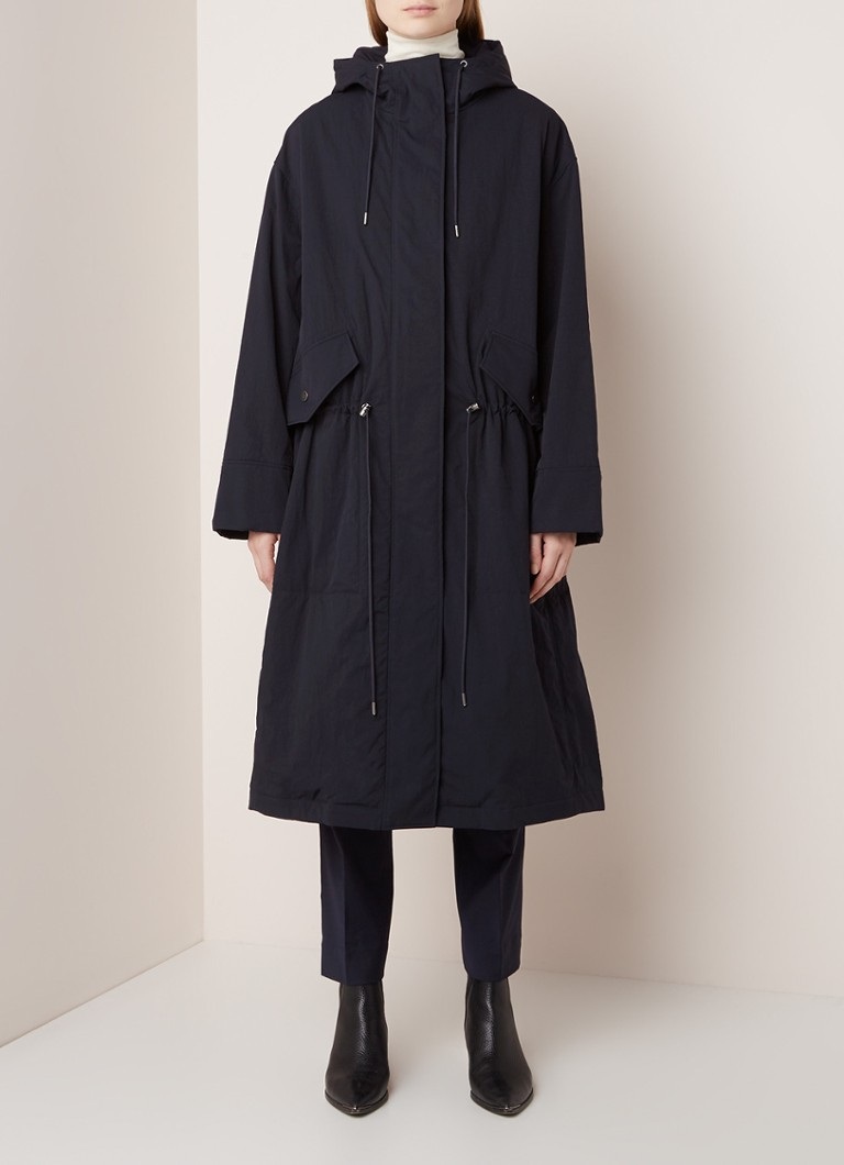 COS - Longline parka mat capuchon - Donkerblauw