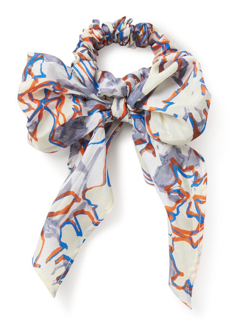 COS - Scrunchie in zijdeblend met print - Wit
