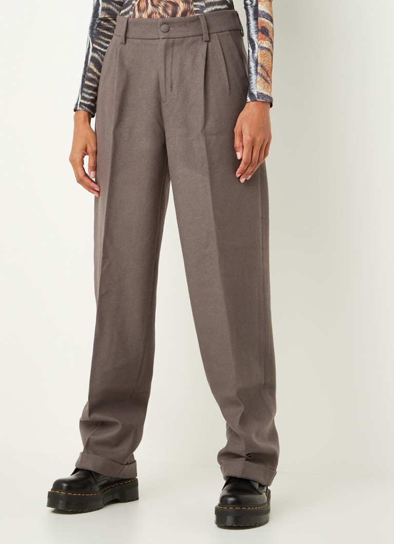 Daily Paper - Esuit high waist tapered fit pantalon in wolblend - Antraciet