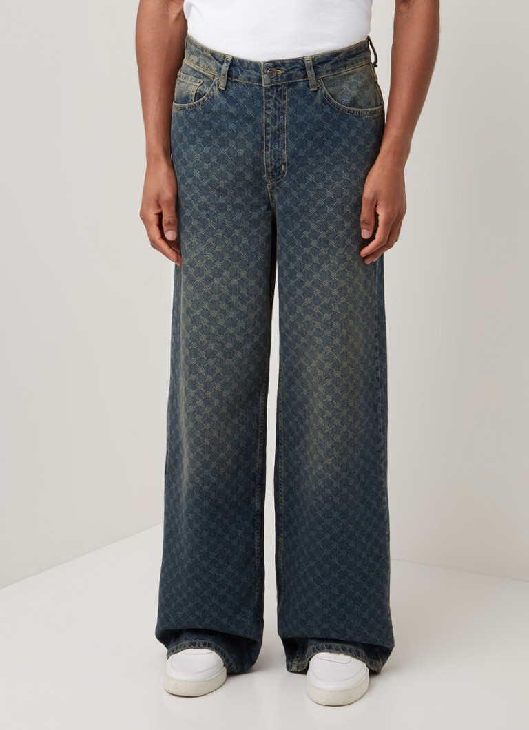 Daily Paper - Kikir wide fit jeans met all over logoprint - Indigo