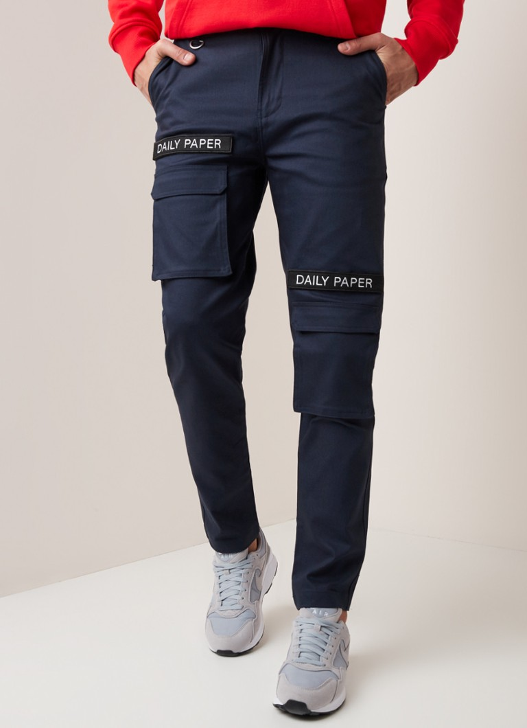 Daily Paper - Slim fit cargobroek met merkapplicatie - Donkerblauw
