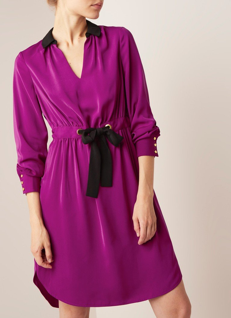 Damsel in a Dress - Hannah midi jurk met strikceintuur - Violet