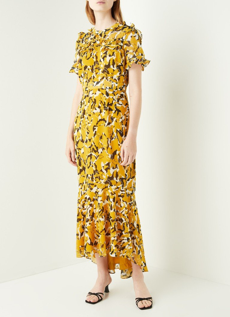 Damsel in a Dress - Leigh maxi jurk met volant en print - Okergeel