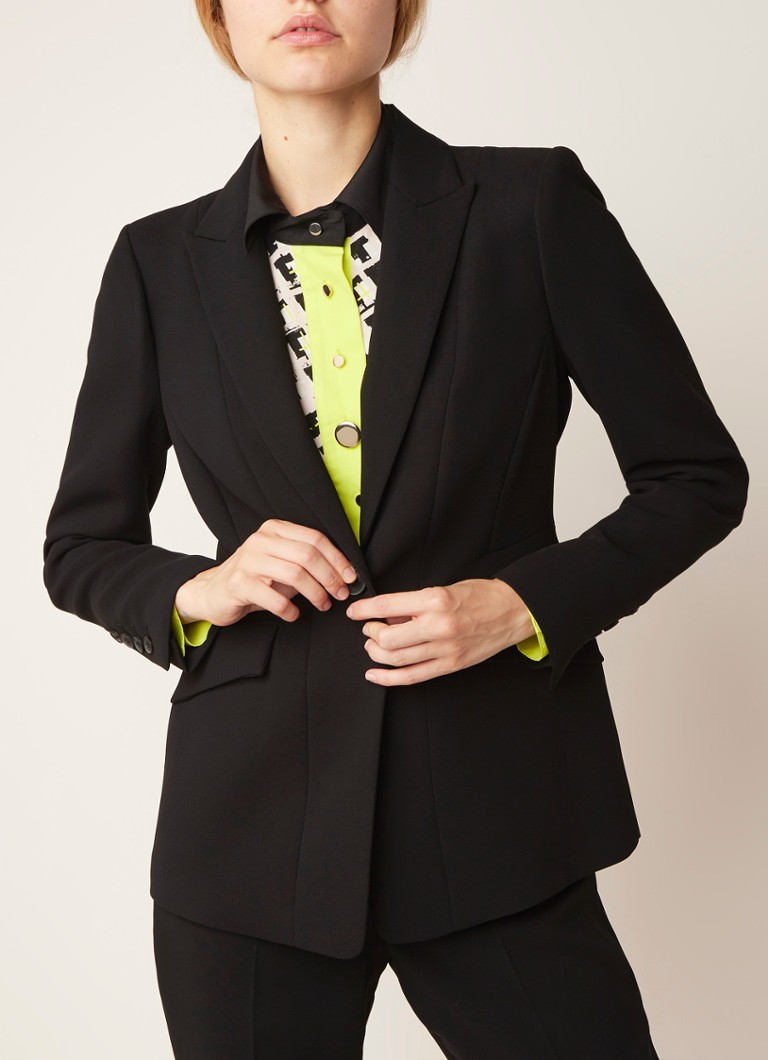 Damsel in a Dress - Lydia City blazer met klepzakken - Zwart