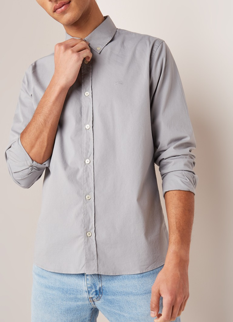 Denham - Wright regular fit button down-kraag - Lichtgrijs