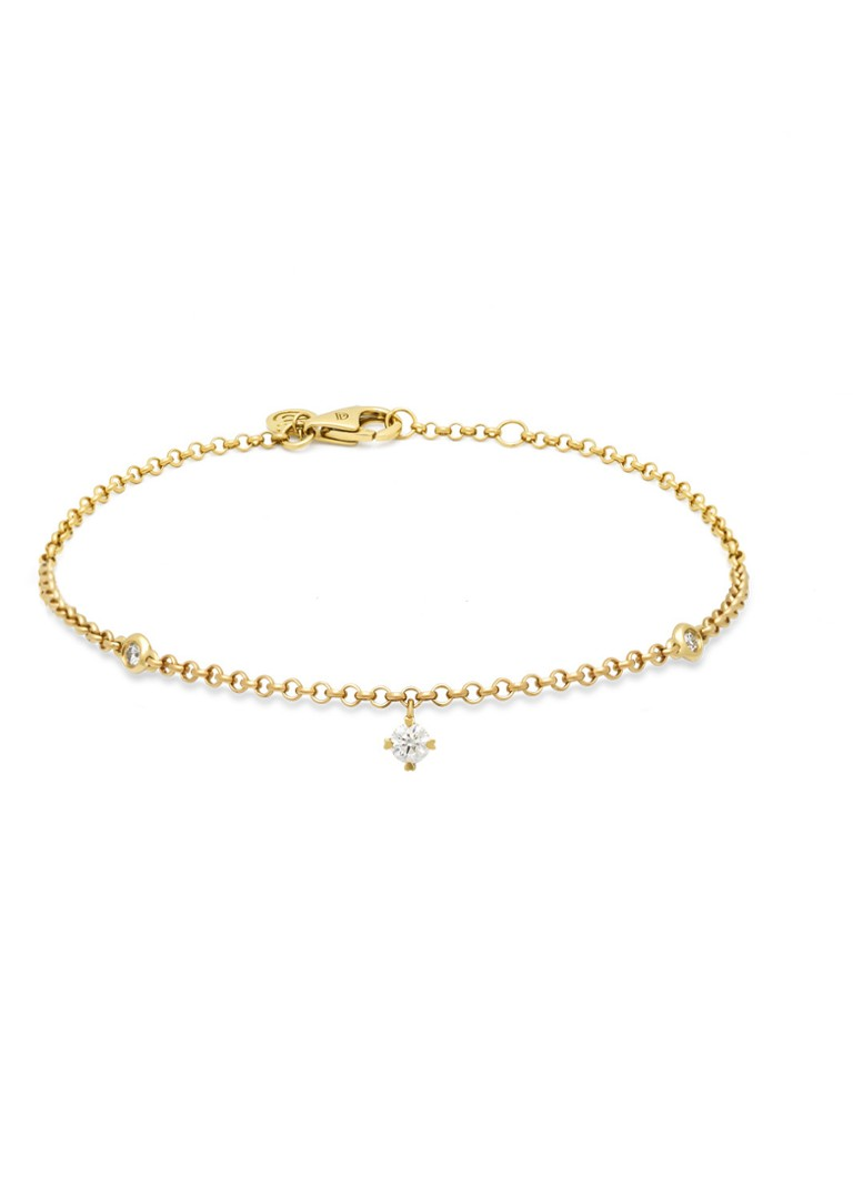 Diamond Point - Geelgouden armband, 0.13 ct diamant, Hearts & Arrows - Geelgoud