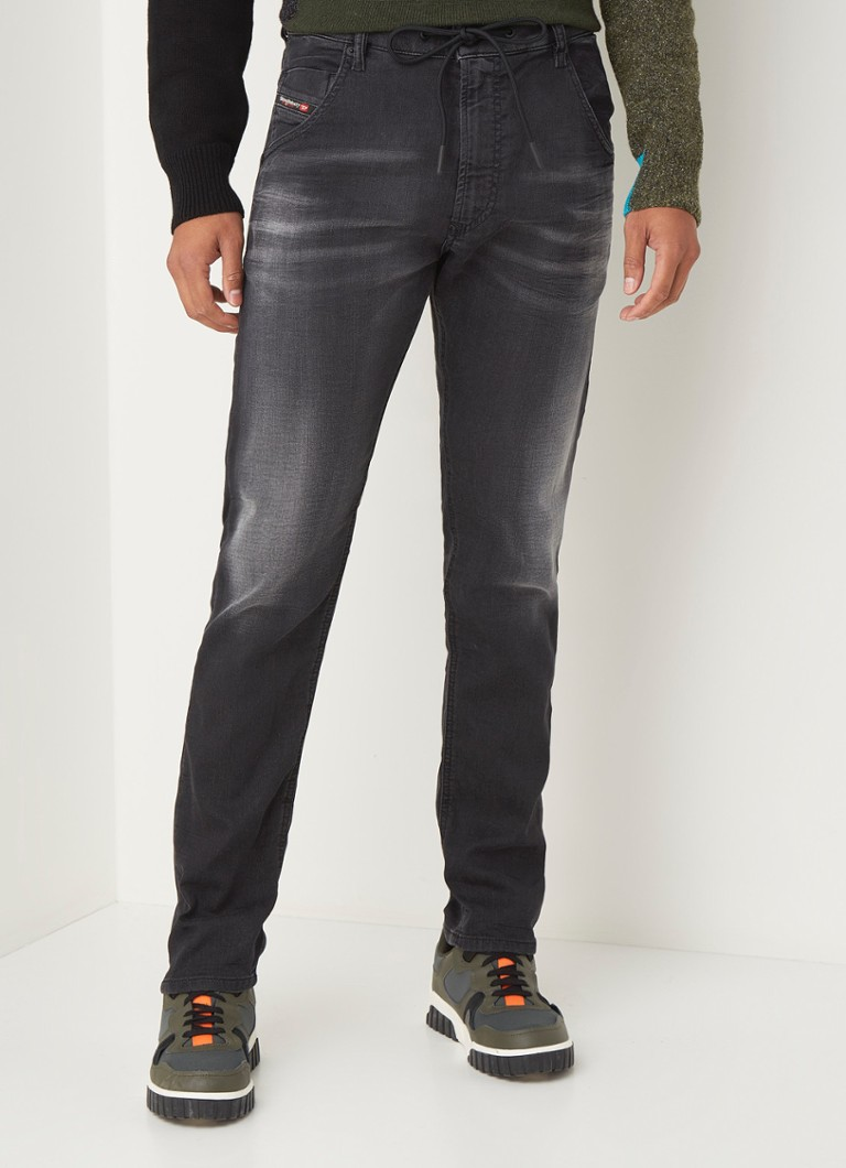 Diesel - Krooley-E-Ne tapered fit joggjeans met stretch - Antraciet