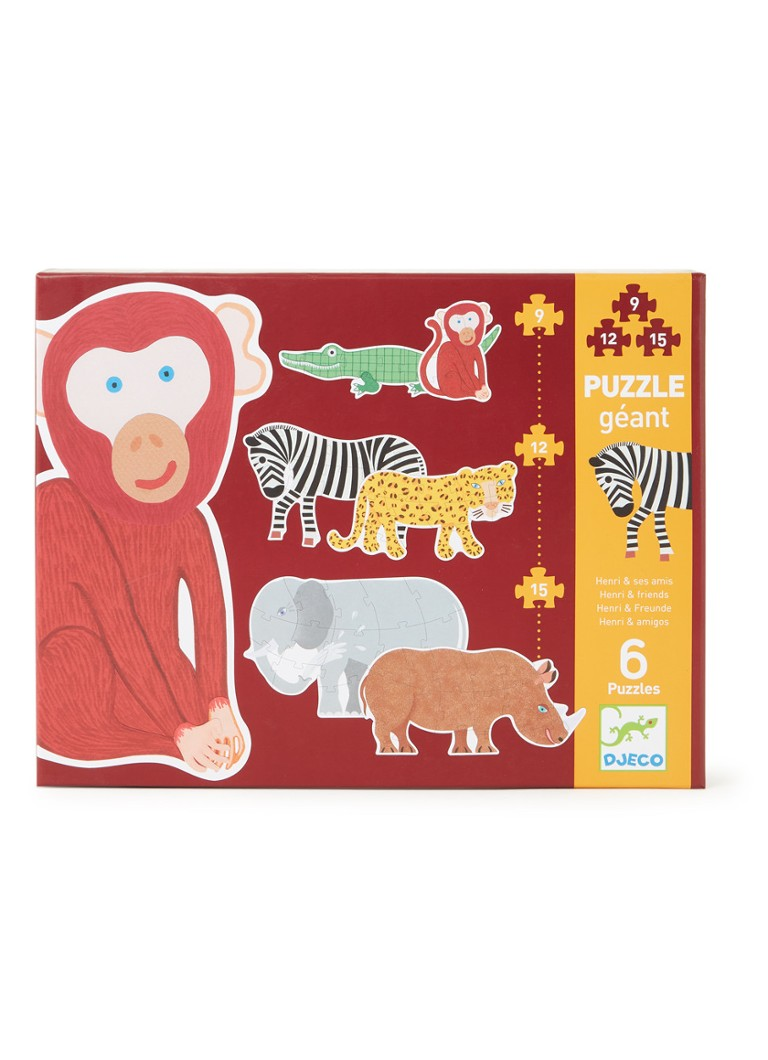 Djeco - Henri & friends multi-puzzel set van 6 - Roodbruin