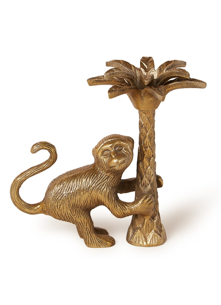 Doing Goods - Macy Monkey kandelaar links 18 cm - Goud