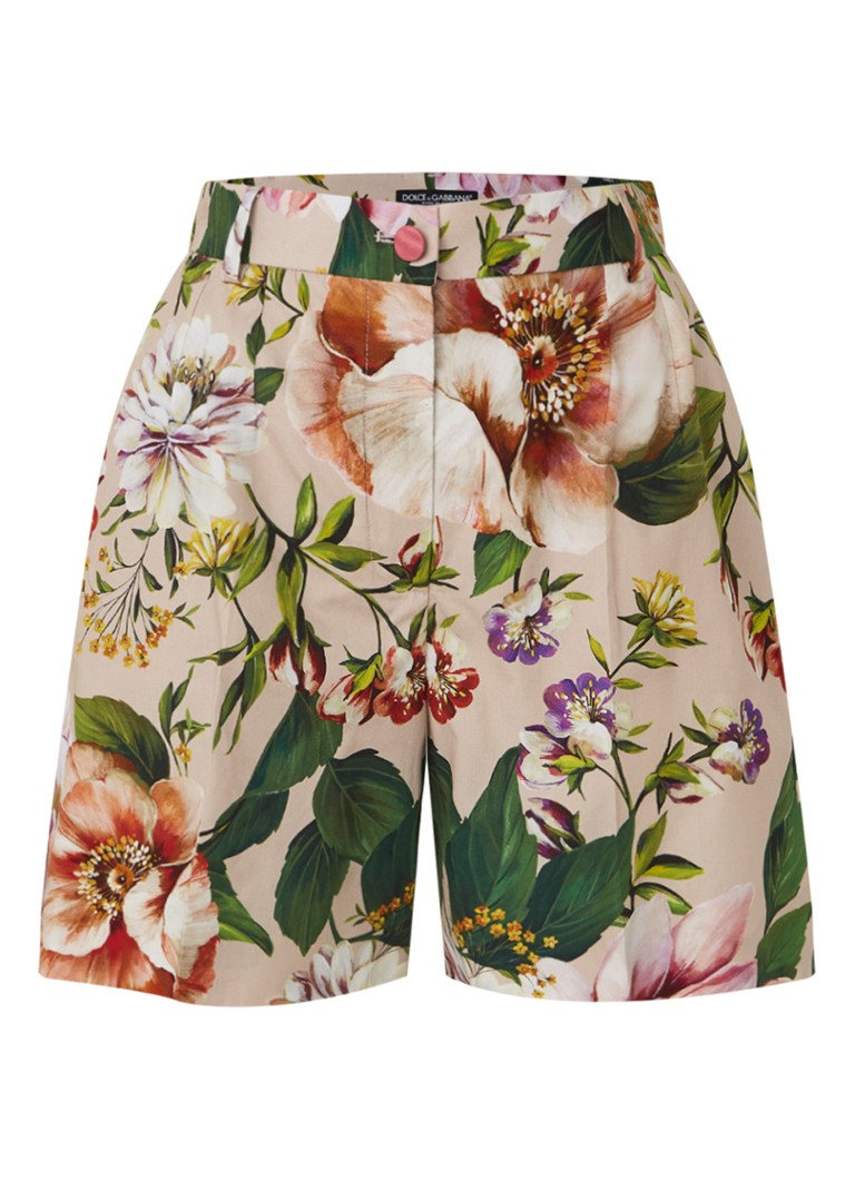 Dolce & Gabbana - High waist straight fit korte broek met bloemenprint - Oudroze