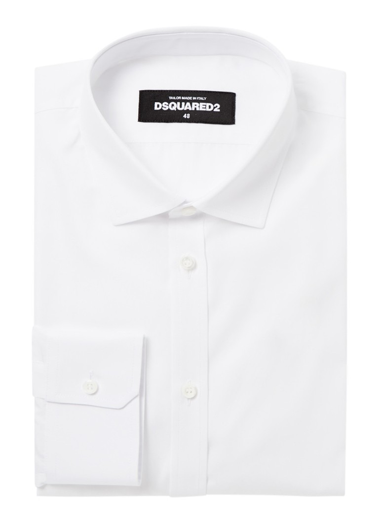 Dsquared2 - Classic slim fit overhemd met logoprint - Wit