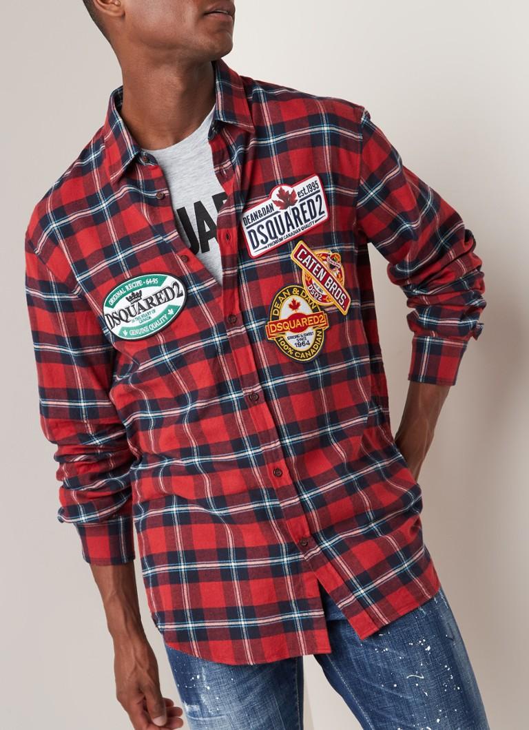b0ec31fb2b2f10 Dsquared2 Comfort fit overhemd met ruitdessin en patches • de Bijenkorf