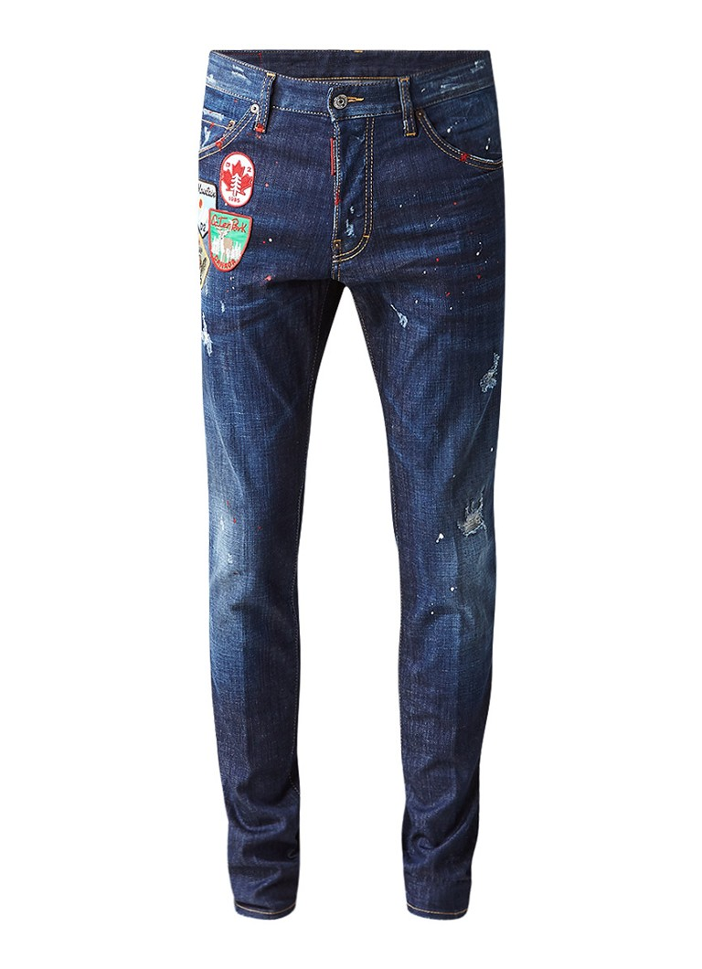 dsquared2 cool guy slim fit jeans met patches de bijenkorf. Black Bedroom Furniture Sets. Home Design Ideas