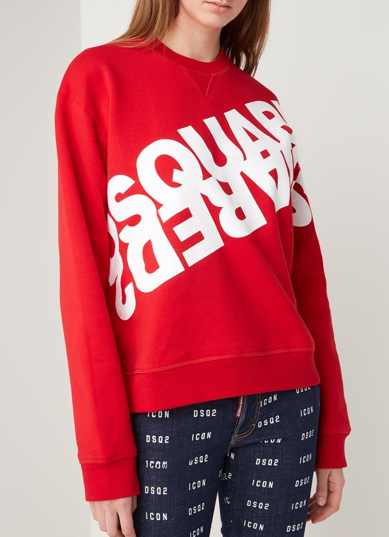 Dsquared2 - Crewneck sweater met logoprint - Rood