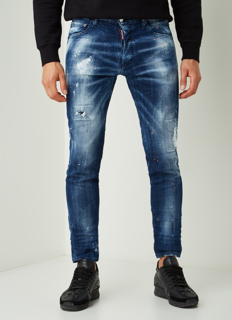 Dsquared2 - Dan skinny fit cropped jeans met ripped details - Indigo
