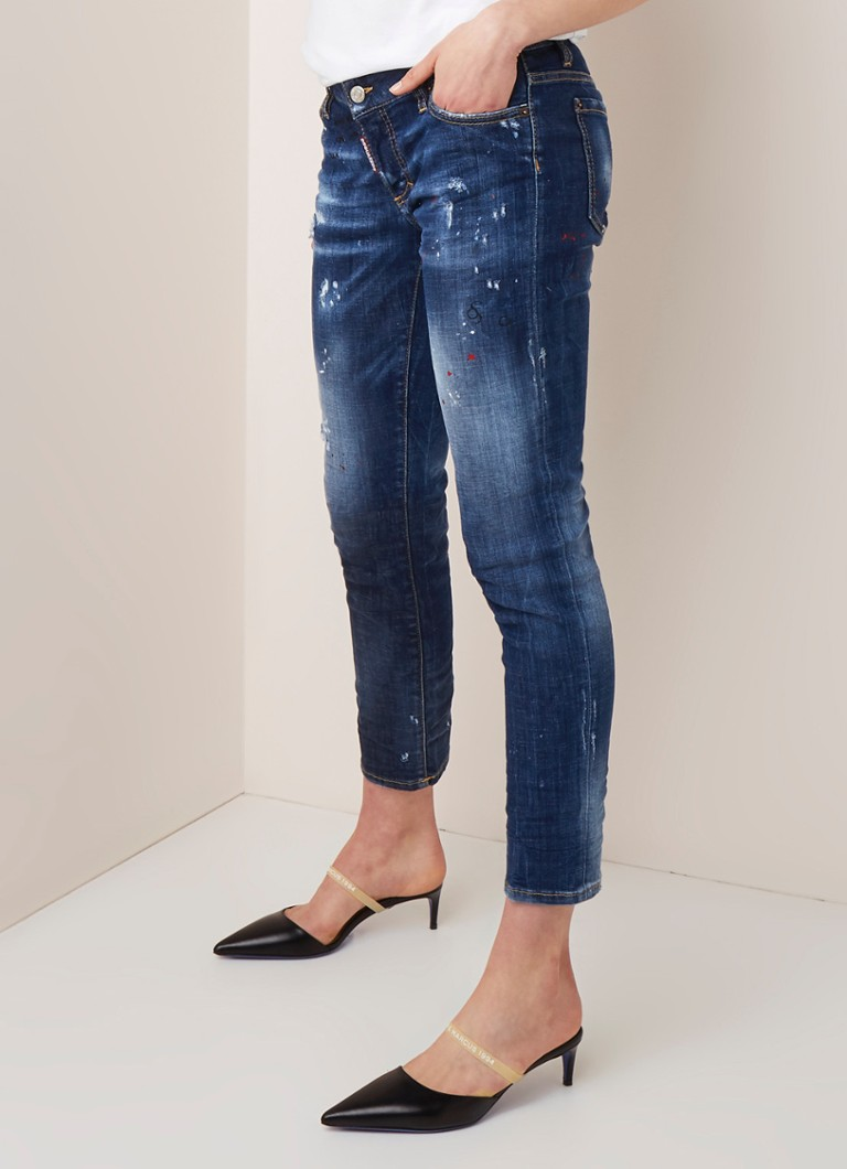 Dsquared2 - Dsquared2 Jennifer low waist slim fit cropped jeans met ripped details en verfspetters - Indigo