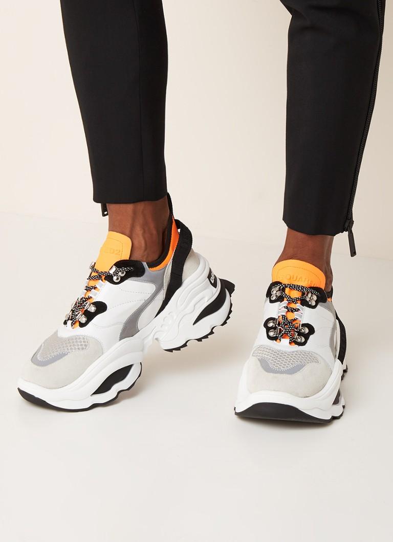 Dsquared2 - Giant sneaker met kalfsleren details - Wit - voorkant