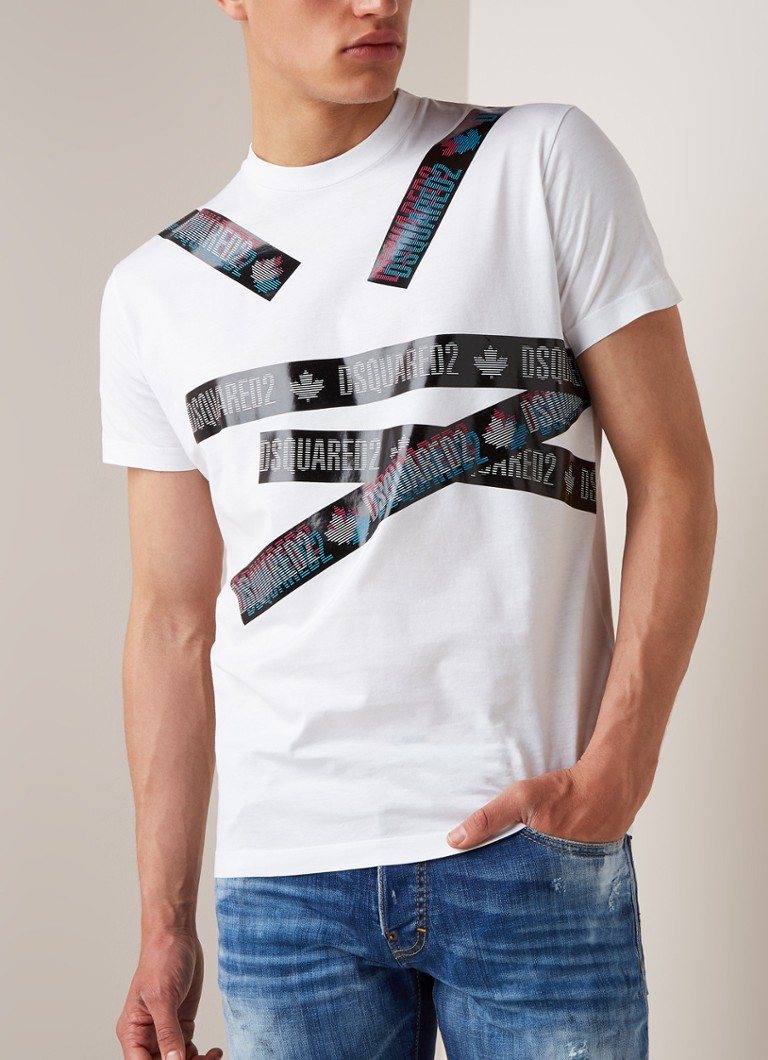 Dsquared2 - Holo Tape T-shirt met logoprint - Wit