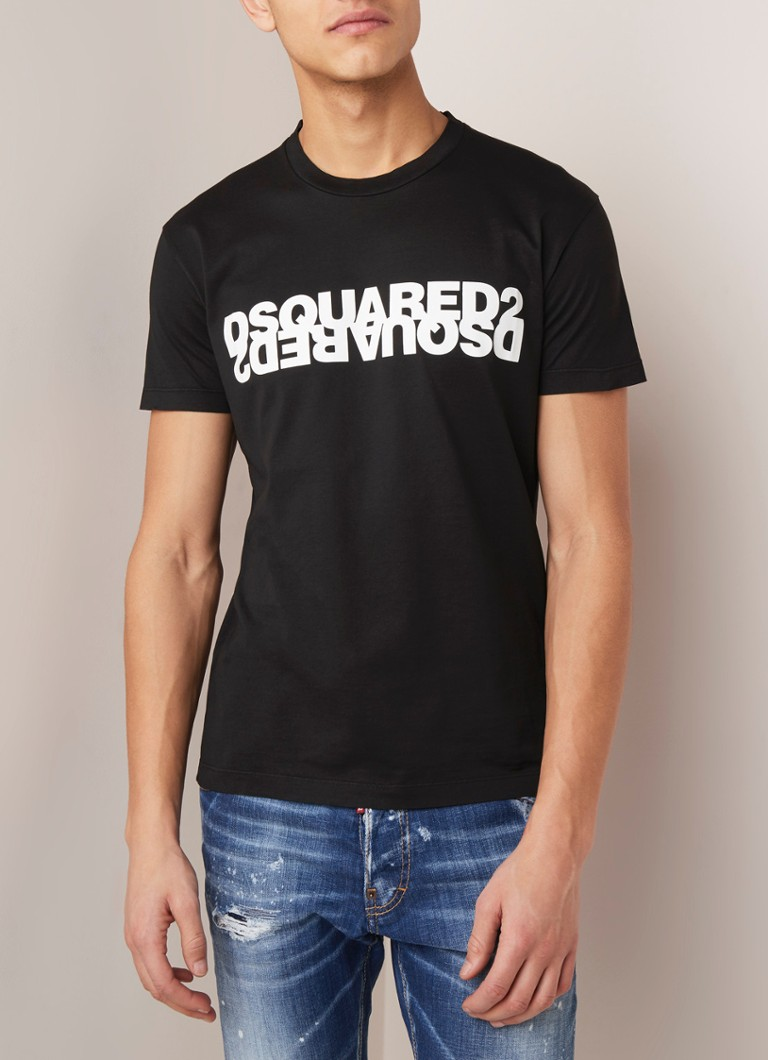 Dsquared2 - Mirrored T-shirt met logoprint - Zwart