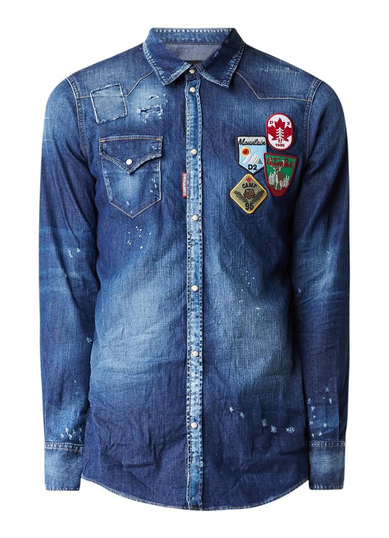 e44d53cb3a8416 Dsquared2 Overhemd van denim met patches • de Bijenkorf