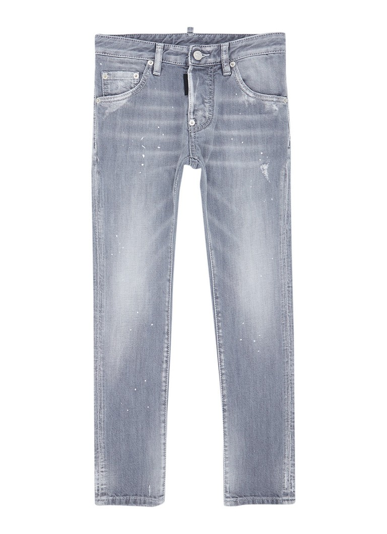 Dsquared2 - Skinny fit jeans met ripped detail - Lichtgrijs