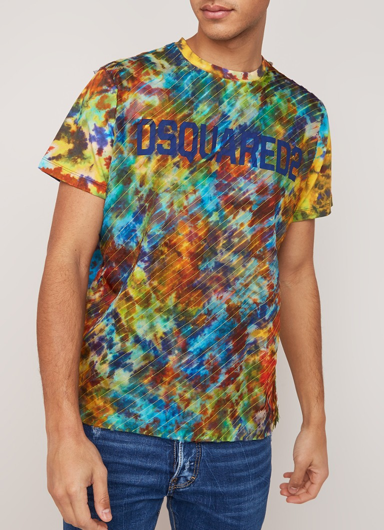 Dsquared2 - T-shirt met tie-dye dessin  - Multicolor