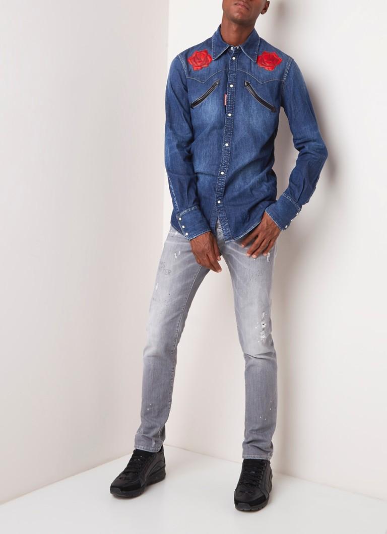 ebd6a196e0121f Dsquared2 Western slim fit overhemd van denim met patches • de Bijenkorf