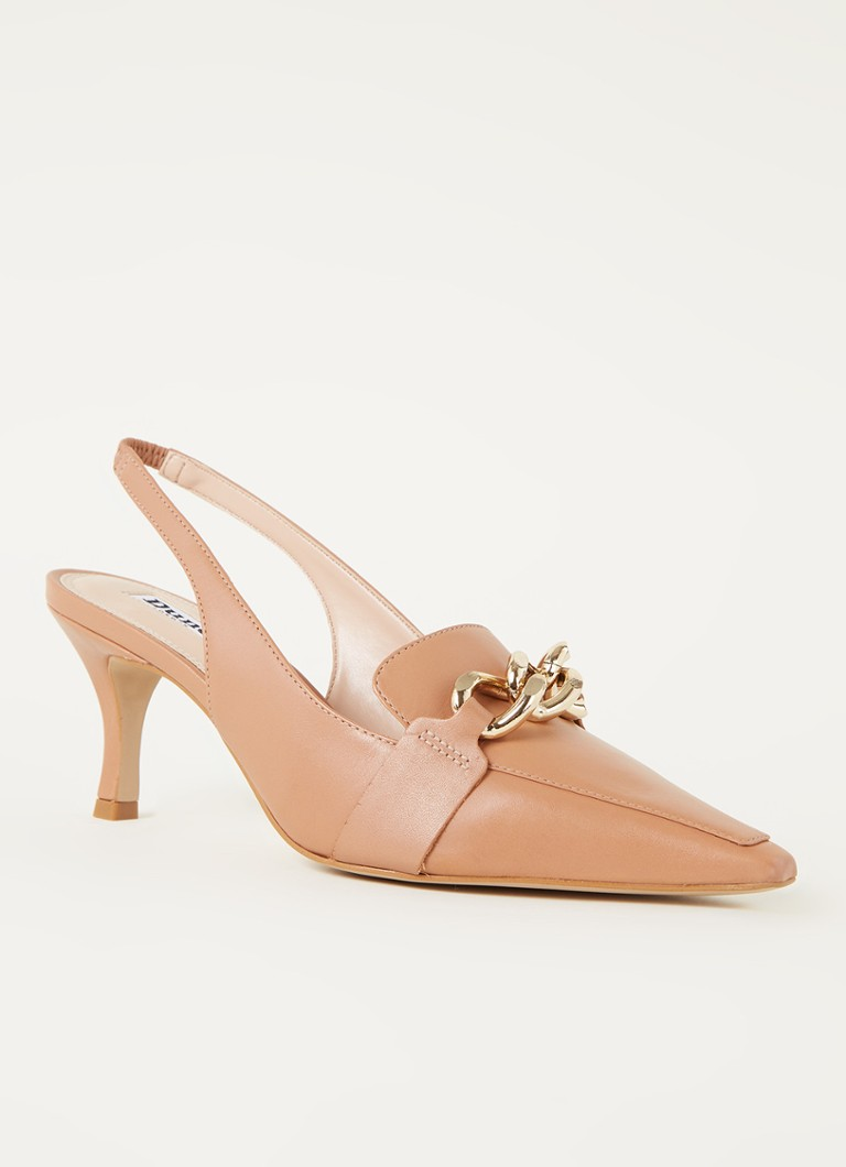 Dune London - 511 California slingback van leer met kettingdetail - Lichtbruin