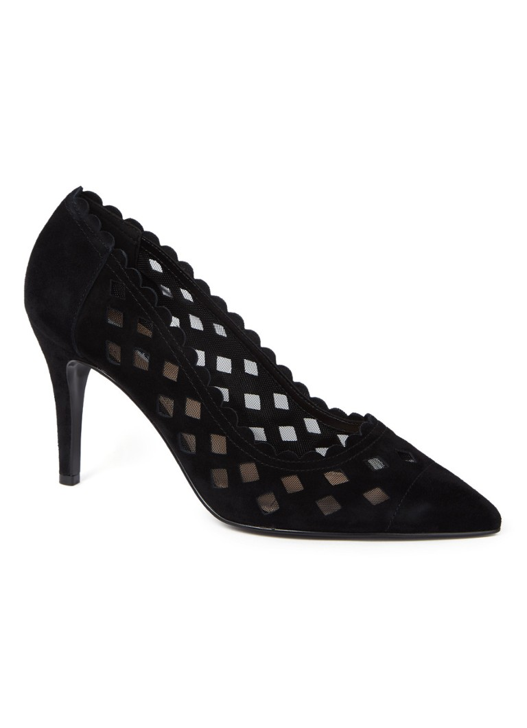 Dune London - Aloraa laser-cut pump van suède - Zwart