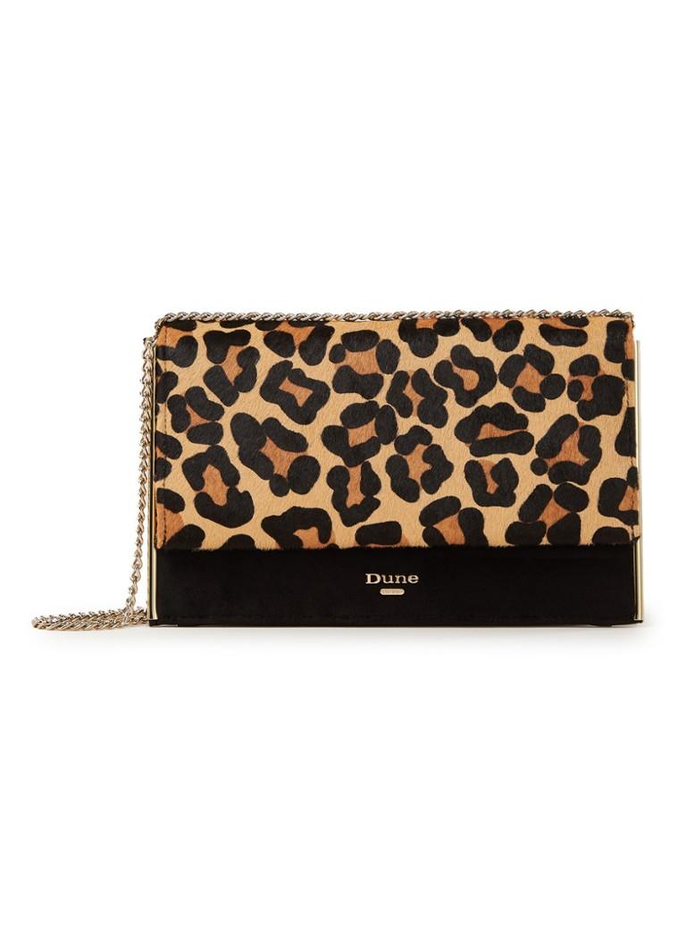 79121ba8ee8 Dune London Binkiie clutch van leer met luipaarddessin • de Bijenkorf