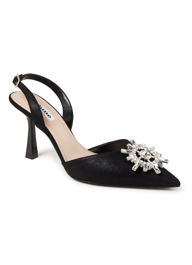 Dune London - Casis slingback met strass - Zwart
