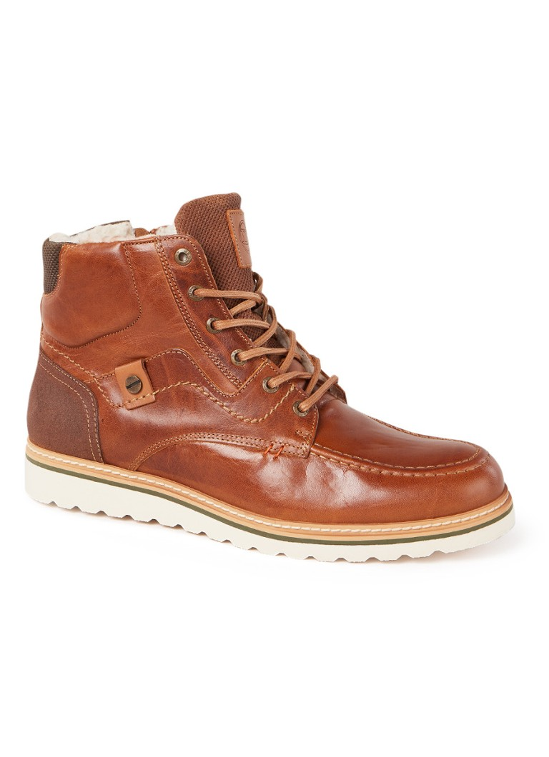 Dune London - Coffee biker boot van leer - Cognac