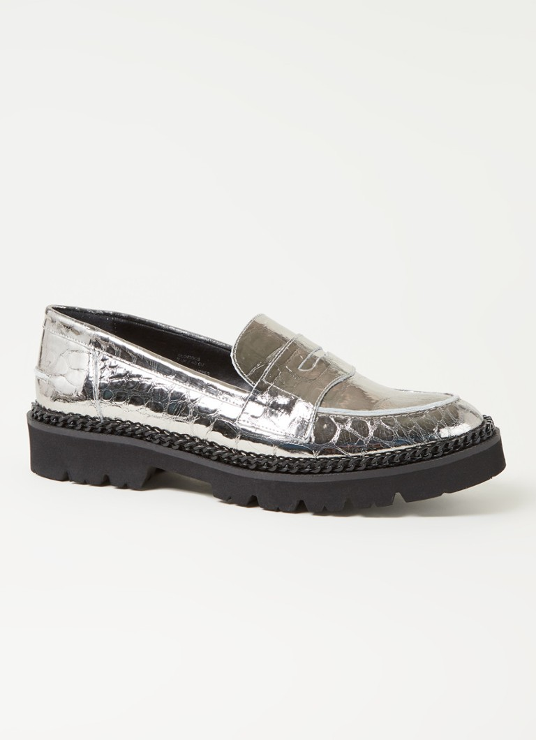 Dune London - Glorious loafer van leer met metallic finish - Zilver