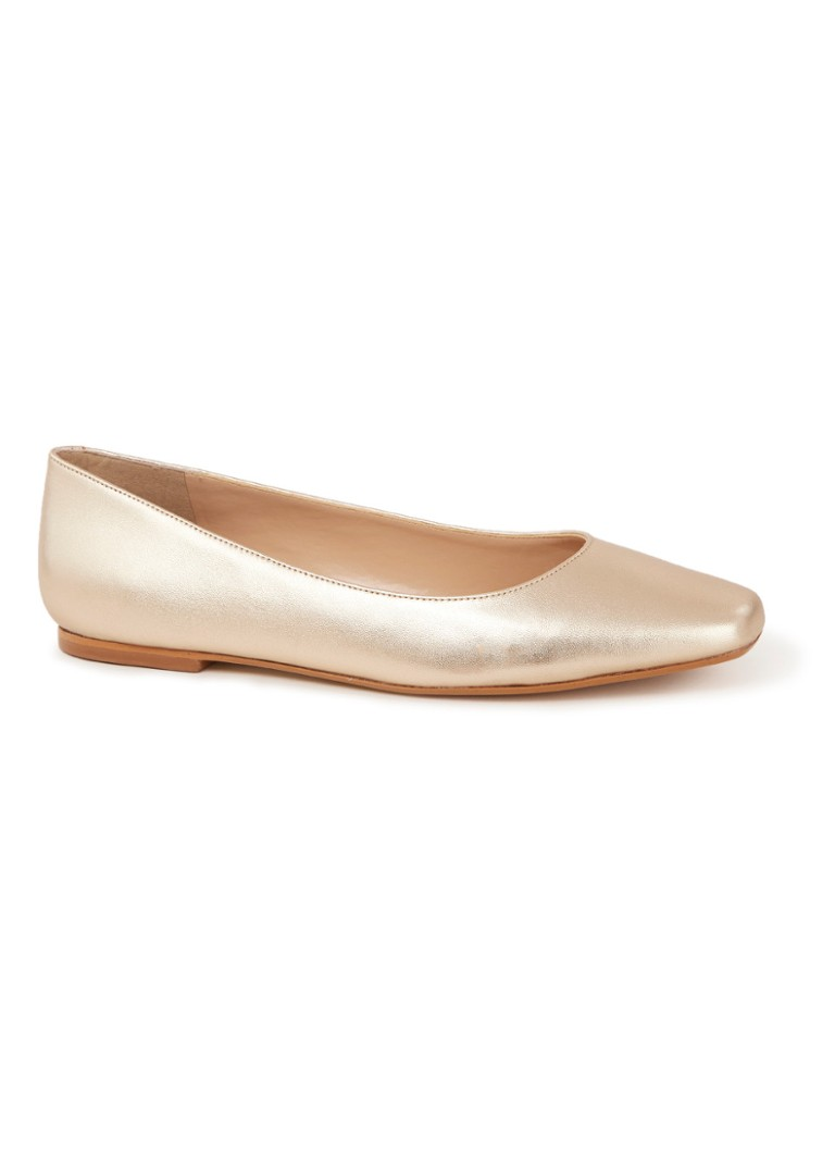 Dune London - Halladay ballerina van leer - Goud