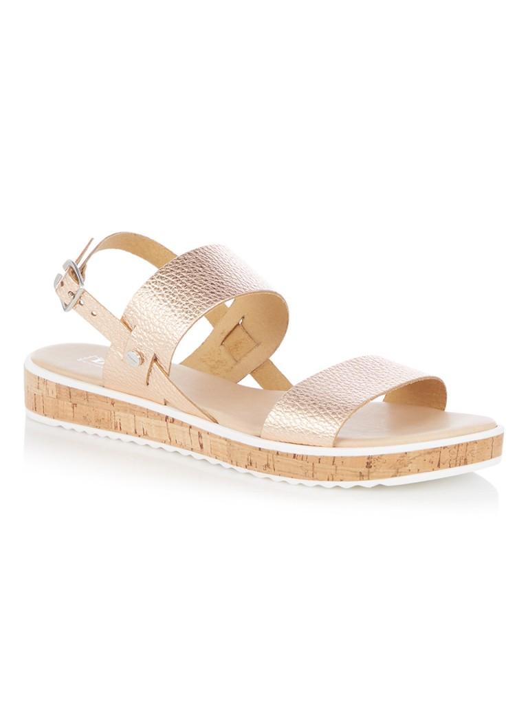 designer fashion 226ee 2d22d Dune London Logo sandaal van leer met metallic finish • de ...
