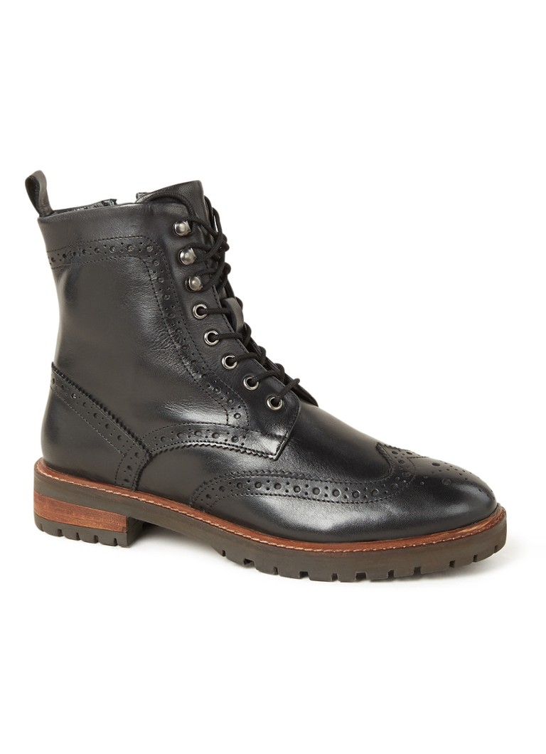 Dune London - Purely biker boot van leer - Zwart