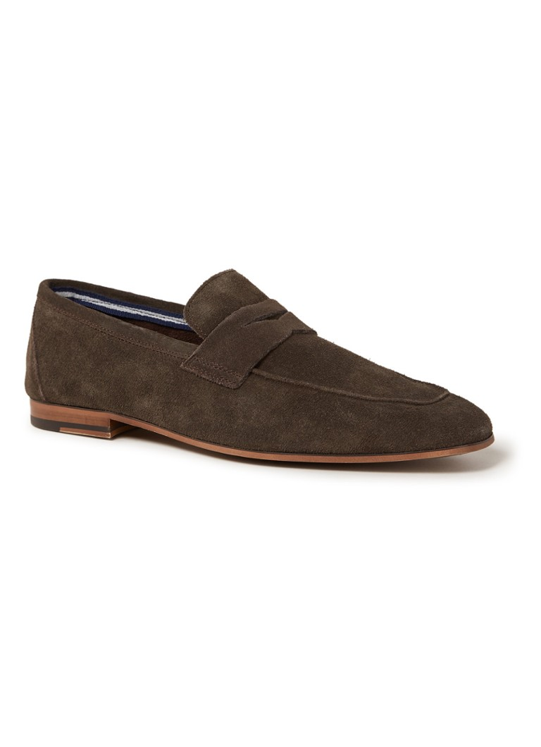 Dune London - Shelburne loafer van suède - Donkerbruin
