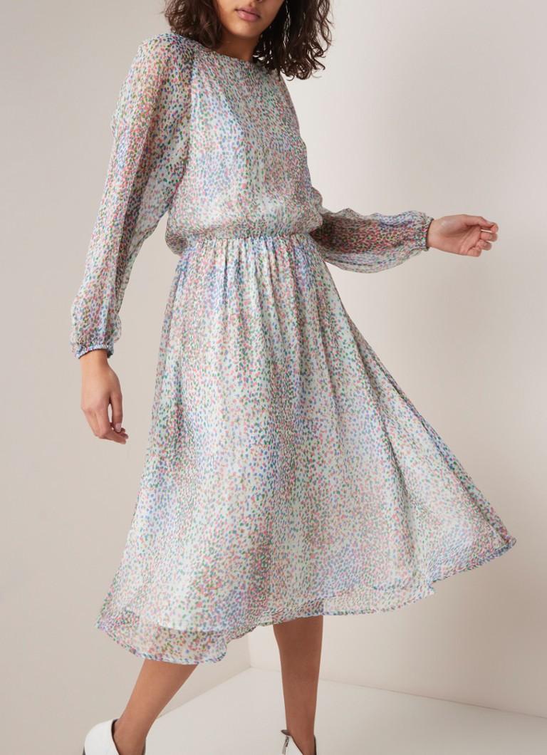 27c56c952cf ESSENTIEL ANTWERP Shayna midi-jurk van zijde met gestipt dessin • de ...