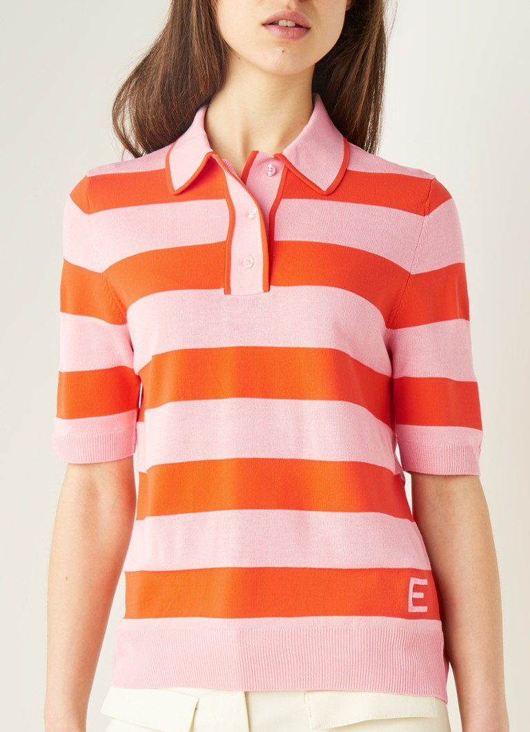 ESSENTIEL ANTWERP - Vailhan slim fit polo met streepprint - Roze