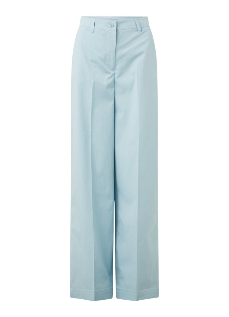 ESSENTIEL ANTWERP - Whenever high waist wide fit pantalon met streepprint - Lichtblauw