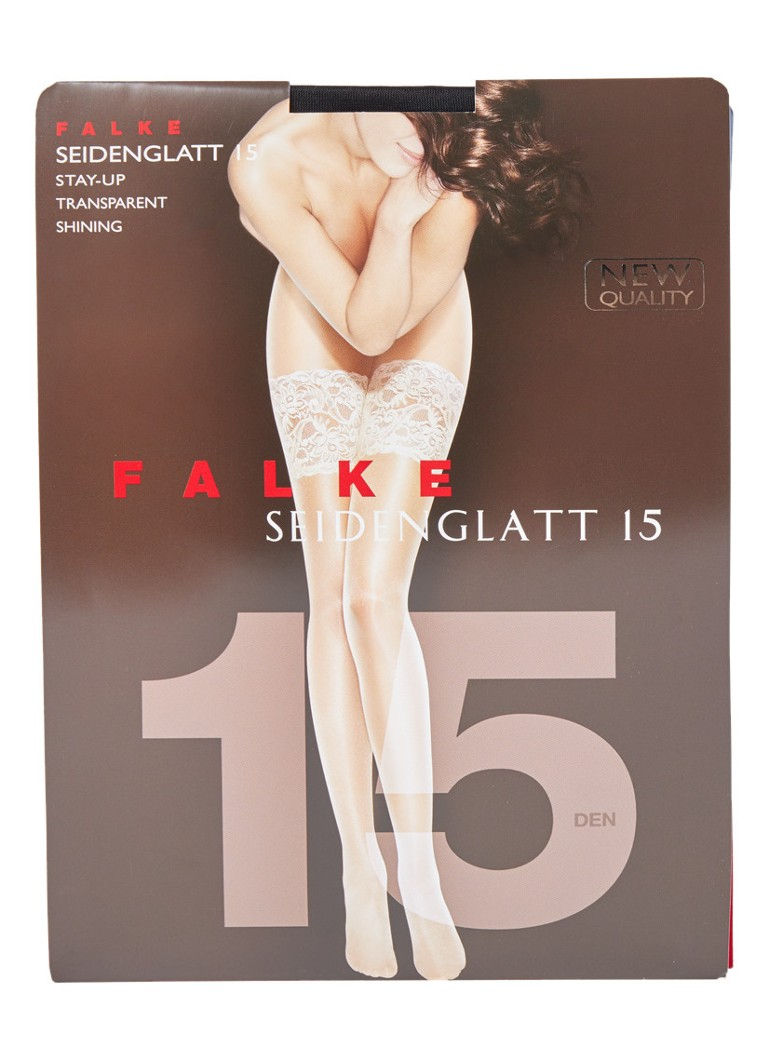 Falke - Seidenglatt hold-ups in 15 denier black  - Zwart