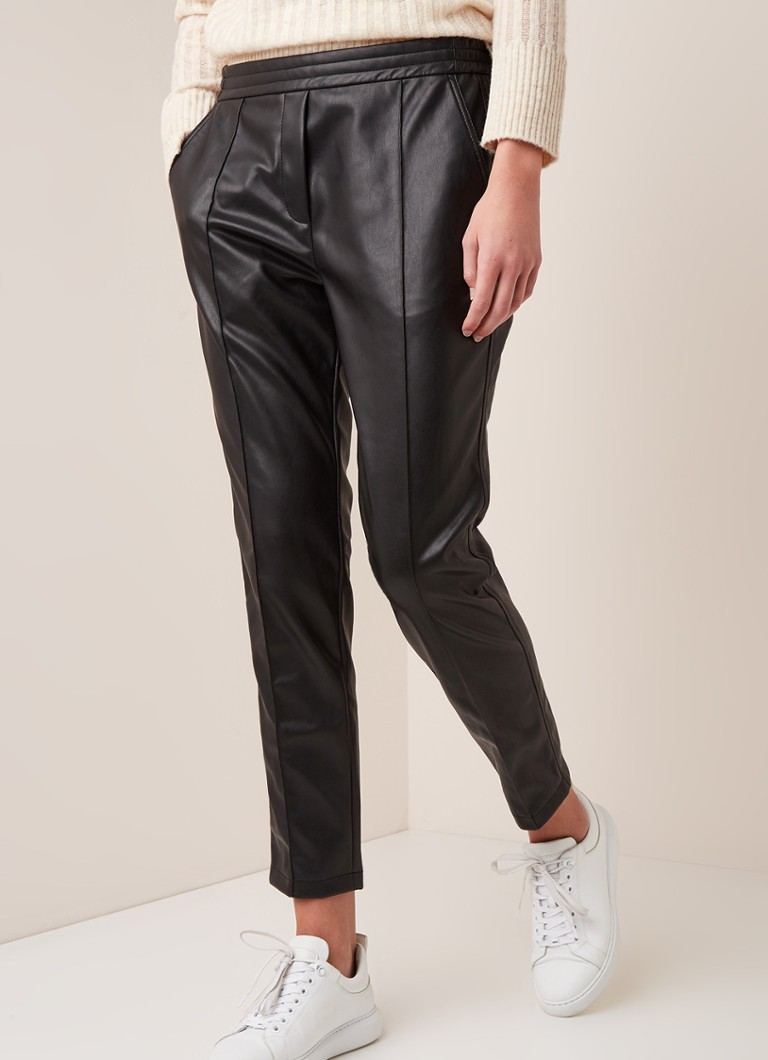 Fifth House - Mily high waist tapered fit broek van imitatieleer - Zwart