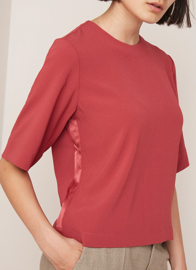 Filippa K - Cassy boxy fit top met ronde hals - Steenrood
