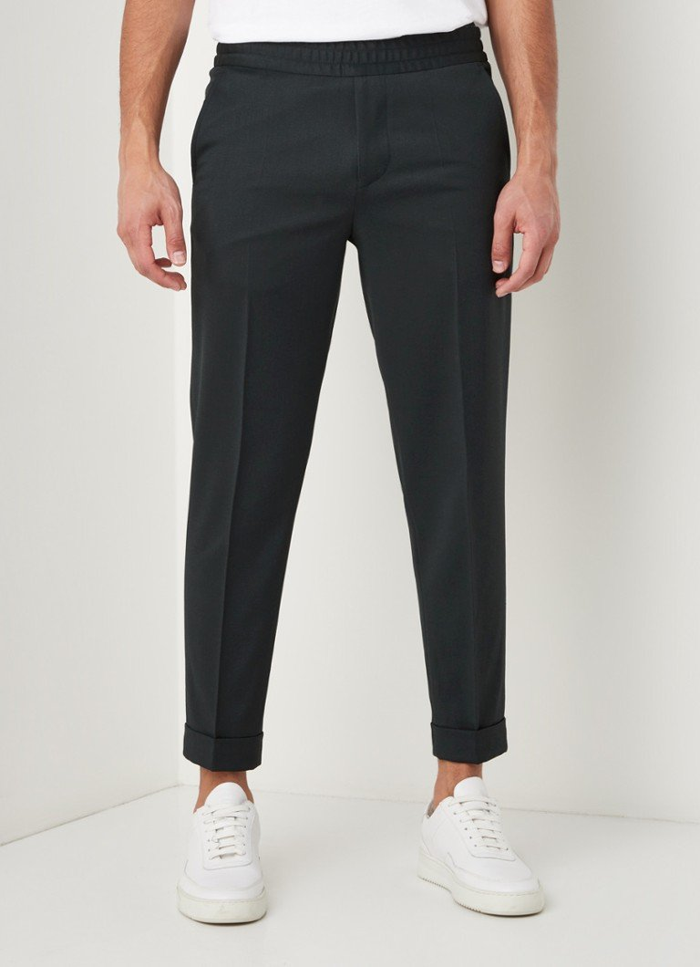 Filippa K - Terry tapered fit cropped pantalon in wolblend - Donkergroen